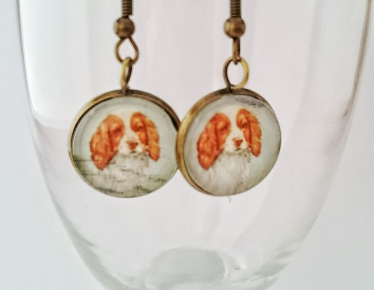 Postage stamp earrings welsh springer spaniel antique style by CraftbyClara on Etsy