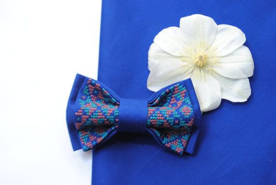 EMBROIDERED electric blue bow tie Men's bow tie от accessories482