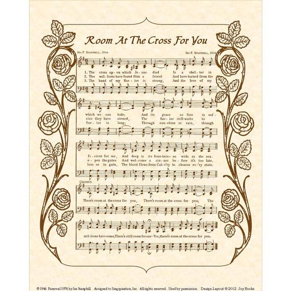 CHAMBRE à la Croix 8 x 10 Antique hymne Art Print Christian Home Decor Vintage versets partitions naturelles parchemin sépia brun Ink de joie livres