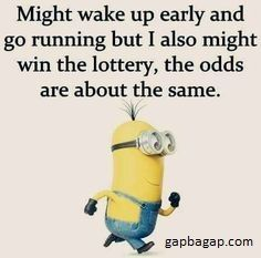 Funny Meme About Running vs. Lottery By The Minions