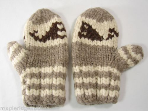 Vintage Wool Mittens Gloves Cowichan Sweater Style