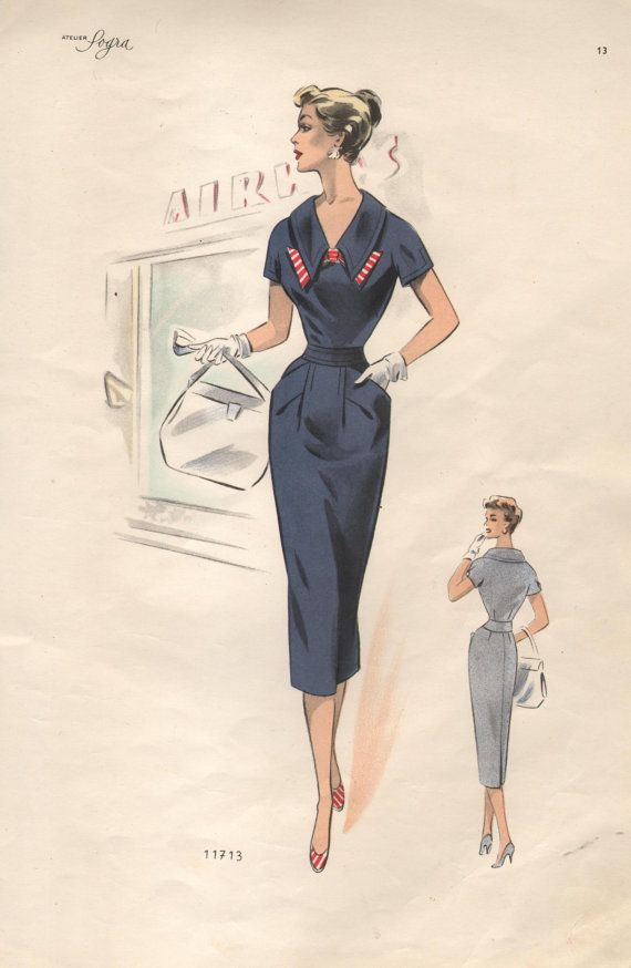 1950s Women's Fashion Plate by Robes Ete by PastPaperNPostcards, $12.00