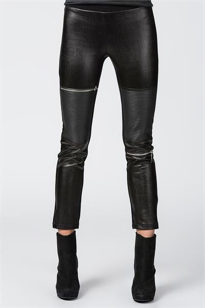 DERİ GÖRÜNÜMLÜ FERMUARLI TAYT PANTOLON Detaylar www.fashionturca.com