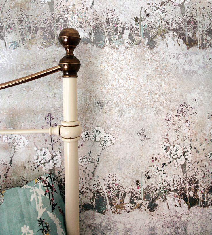 Autumnal Tones, Flint   Meadow Wallpaper by Louise Body   Jane Clayton