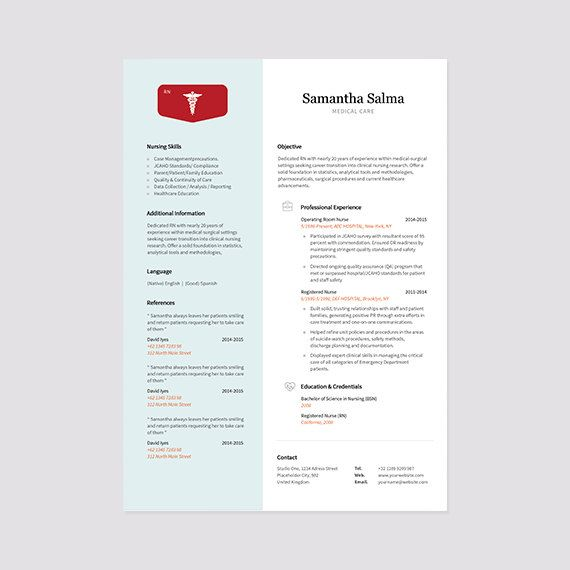 nurse resume template instant download cover letter format ms word and photoshop bonus business card medical resumes pinterest cover letter