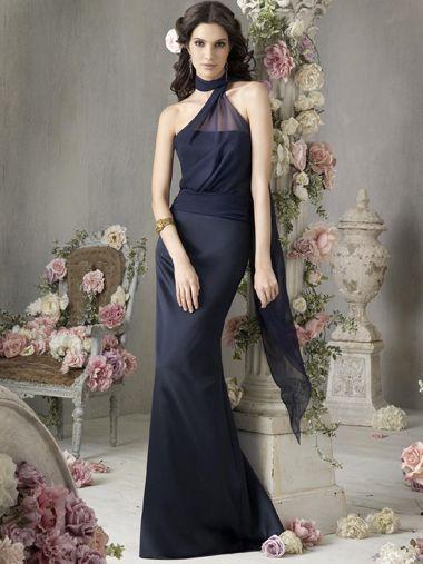 Sheath/Column High Neck Sleeveless Floor-length Chiffon Evening Dress #VJ515
