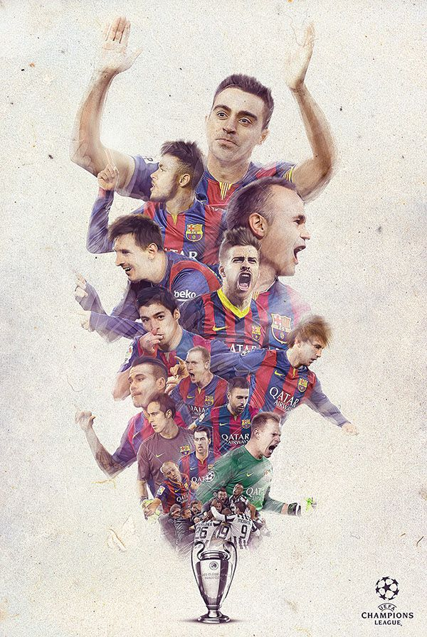 Gestalt by continuation is earn objects appear similar if they follow the same line. This ad for FC Barcelona has all of the players on the same line heading towards the center.