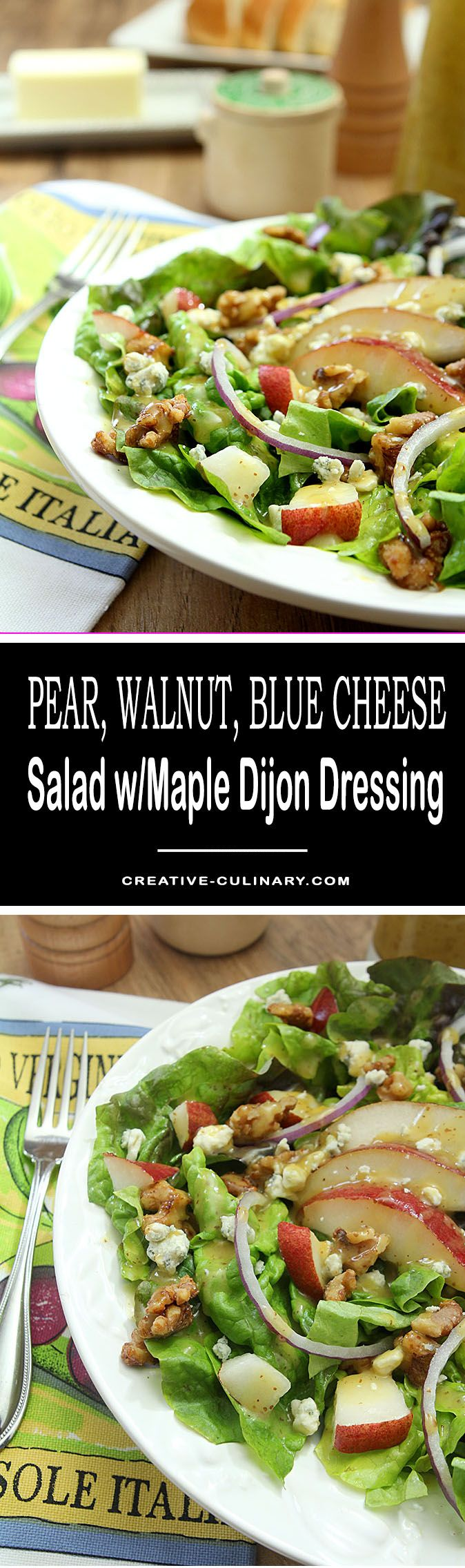 First discovered at Nordstrom's department store, this Pear, Walnut and Blue Cheese Salad with Maple Dijon Dressing is now one of our favorites to make at home and a great use for the pears that are available in cooler months; the perfect winter salad! via @creativculinary