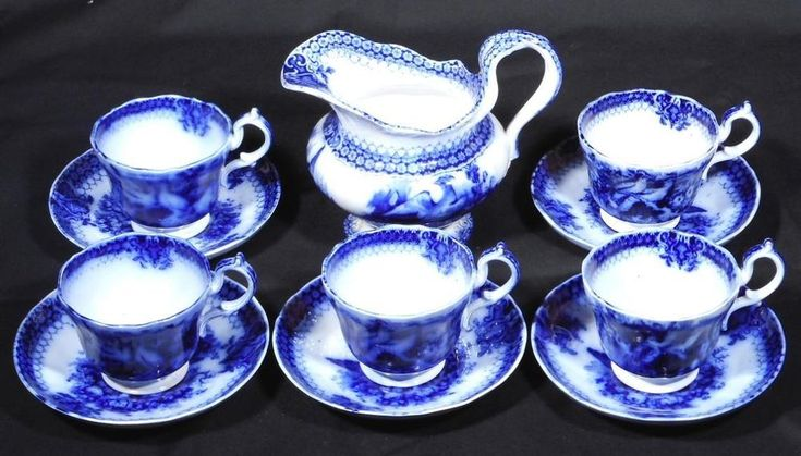 "c.1870 Rare Villeroy & Boch ""India"" Flow Blue - 5 Cups & Saucers + Creamer"