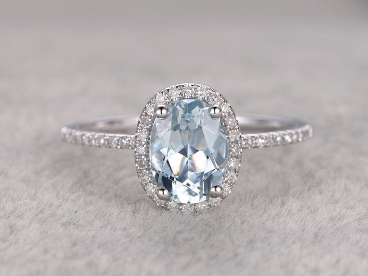Natural Blue Aquamarine Ring! Engagement ring White gold with Diamond,