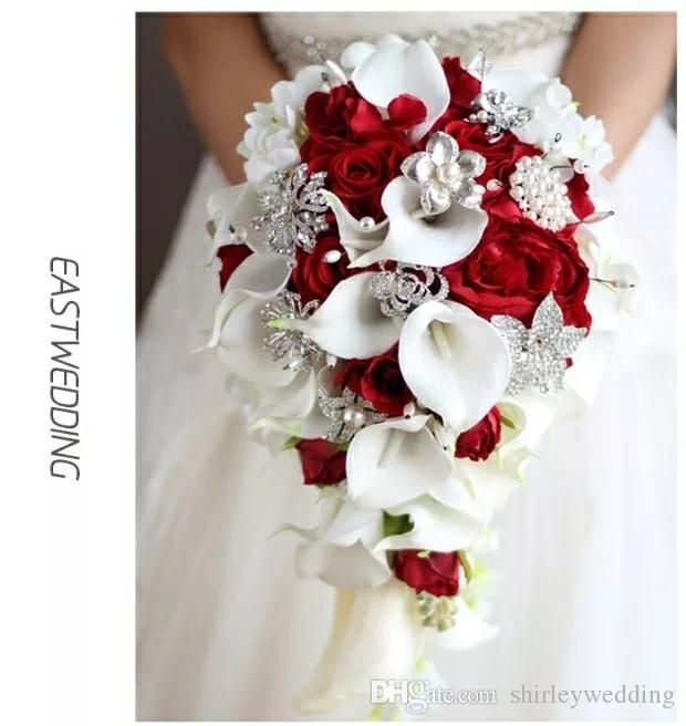 fe730ebbdbbbe Waterfall Red Wedding Flowers White Calla Lilies Bridal Bouquets ...