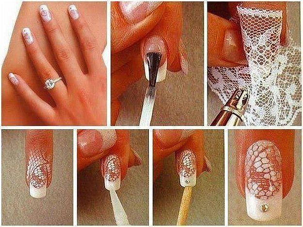 Lace Nail Art Designs | Simple Nail Art Ideas for Lazy Girls, check it out at http://makeuptutorials.com/lazy-girl-nail-art-hacks/