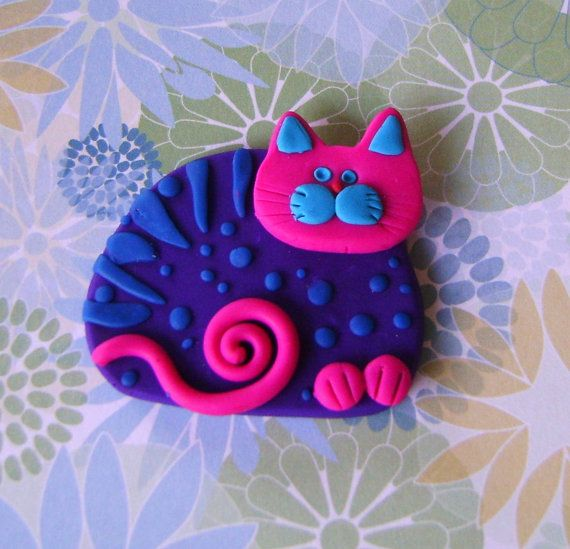 Polymer Clay Purple and Pink Cat pin brooch or magnet