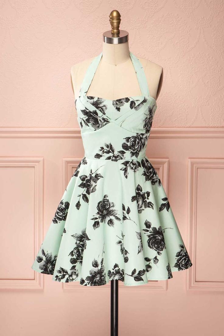 Boutique 1861 - Dresses: Iris #A-line #Courte #Dress #Floral #Halter #Ligne A #Robe #Sans manches #Short #Sleeveless #Special #Blue