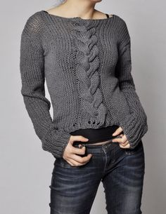 Hand knitted sweater -  Charcoal sweater cable pattern cotton sweater