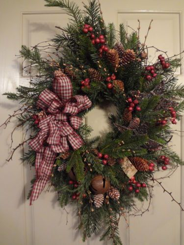 how to make a primitive pine christmas wreath | Primitive~Winter~Christmas~Holiday~Peace~Bells~Stars~Pine~Floral~Vine ...