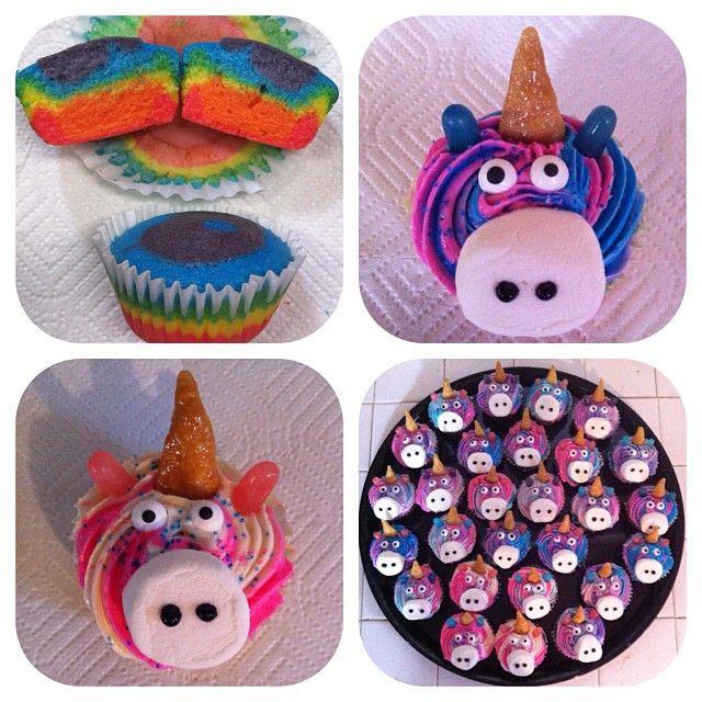 The Rainbow Unicorn Cupcakes I made for Reagan's 7th Birthday Class Treat. Inspiration from Amanda Cupcake: http://amandacupcake.blogspot.com