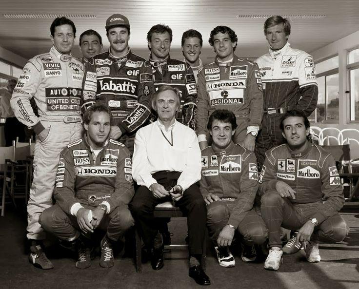 Brundle, Alboreto, Mansell, Patrese, Schumacher, Senna, Boutsen, Berger, Ecclestone, Alesi e Capelli