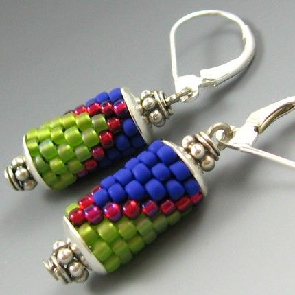 peyote earrings | indie*galore! » peyote stitch or what to do with peyote tubes.  Lovely.