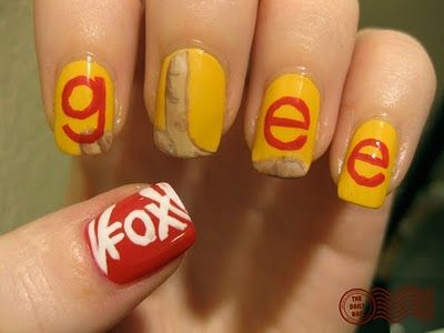 glee nails! used American Apparel Manila as a base for all the nails except the thumb, which I used Eyeko Saucy Polish for Naughty Nails on. I also used Eyeko Saucy Polish for Naughty Nails for the letters, Sally Hansen Professional Lavender Cloud for the FOX logo, and for the hand, I used American Apparel California Trooper as a base, topped with MAC Abalone Shell, then I mixed MAC Abalone Shell mixed with Barielle Unraveled Rust to shade, and mixed MAC Abalone Shell with Sally Hansen…