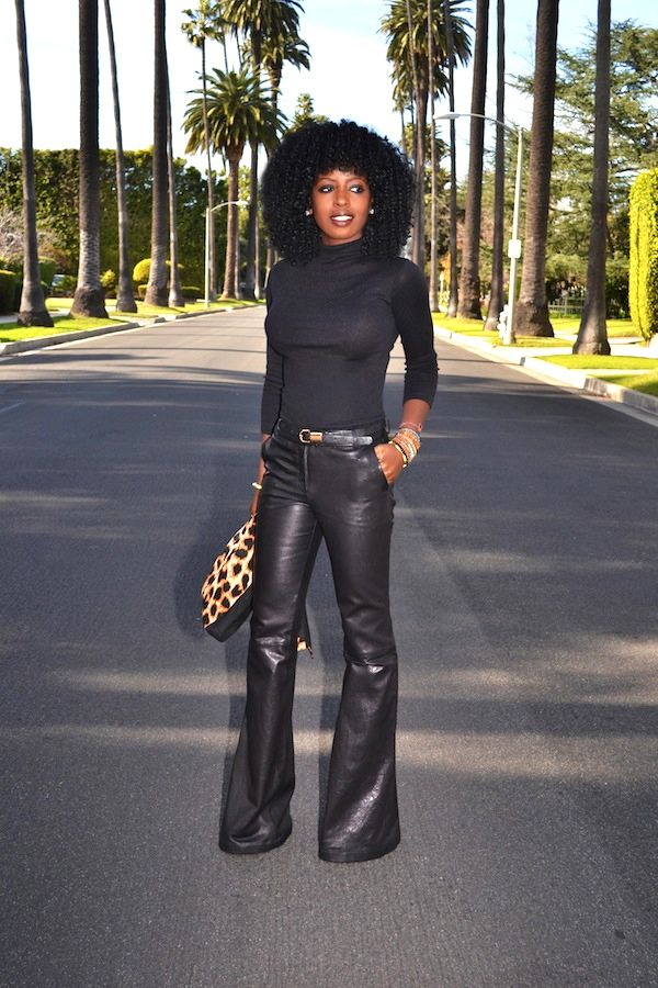 Style Pantry   Leopard Print Blazer + Mock Neck Top + Leather Bell Bottoms
