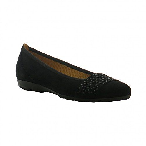 Gabor Fashion Damenschuhe 44.160.17 Damen Ballerinas Slipper Slip-On Leder (Wildleder) Schwarz (schwarz), EU 40.5 - http://on-line-kaufen.de/gabor/7-uk-gabor-glitz-damen-ballerinas