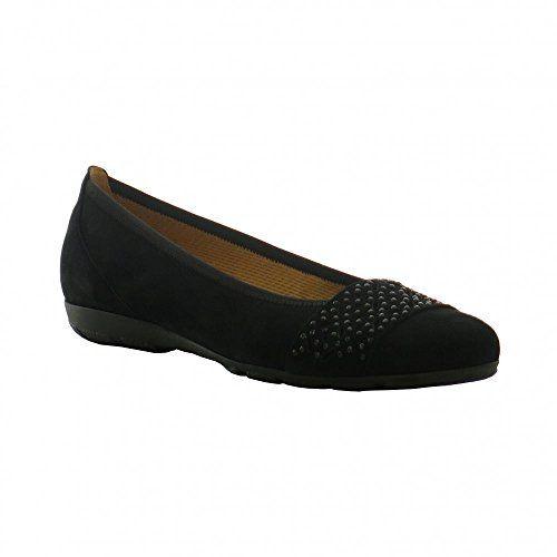 Gabor Fashion Damenschuhe 44.160.17 Damen Ballerinas Slipper Slip-On Leder (Wildleder) Schwarz (schwarz), EU 40.5 - http://on-line-kaufen.de/gabor/7-uk-gabor-glitz-damen-ballerinas