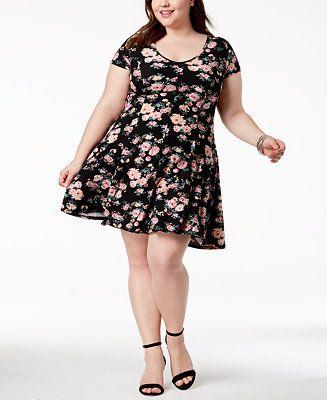 899de1be152 Planet Gold Trendy Plus Size Floral-Print Fit   Flair Dress - Dresses - Plus  Sizes - Macy s