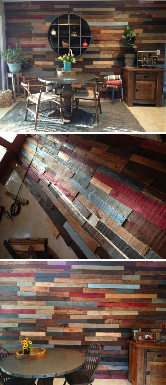 DIY Pallet Wall Beautiful Pallet wall made from recycled pallets. #diy_decoracion_closet