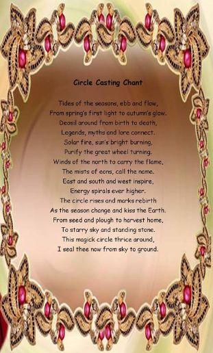 Book of Shadows:  #BOS Circle Casting Chant page.