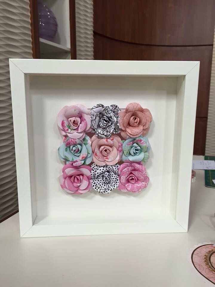 Frame of roses made by Kath Woods using the Heritage Rose collection.