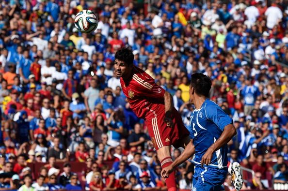 Diego Costa of Spain heads the ball towards goal during an international friendly match between El Salvador and Spain at FedExField on June 7, 2014 in Landover, Maryland.