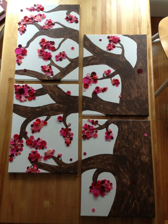 This is a custom made set of canvases. 12x16 inches in size for each canvas. Who doesn't love pink button trees?!?