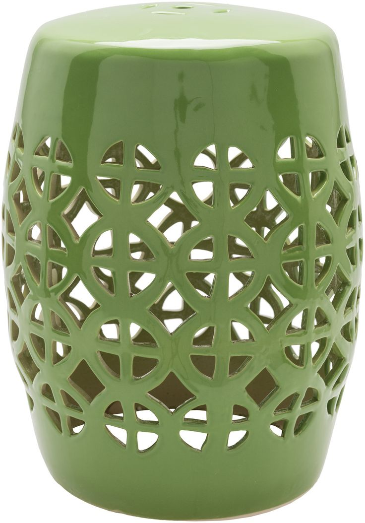 Our chic Ridgeway Geometric Garden Stool Green lends transitional spaces exotic intrigue. This lovely garden stool can add rich color and intricate geometric pattern to your patio as a stool, footrest, side table, plant stand or coffee table. This stool can be used indoors or outdoors