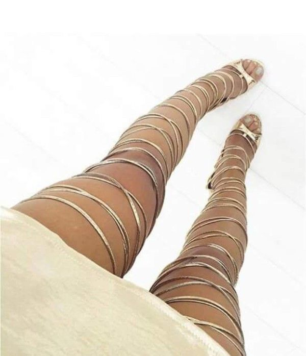 Fashion trend of Vixi Rose Gold Snake Lace Up Thigh High Heels : Simmi Shoes