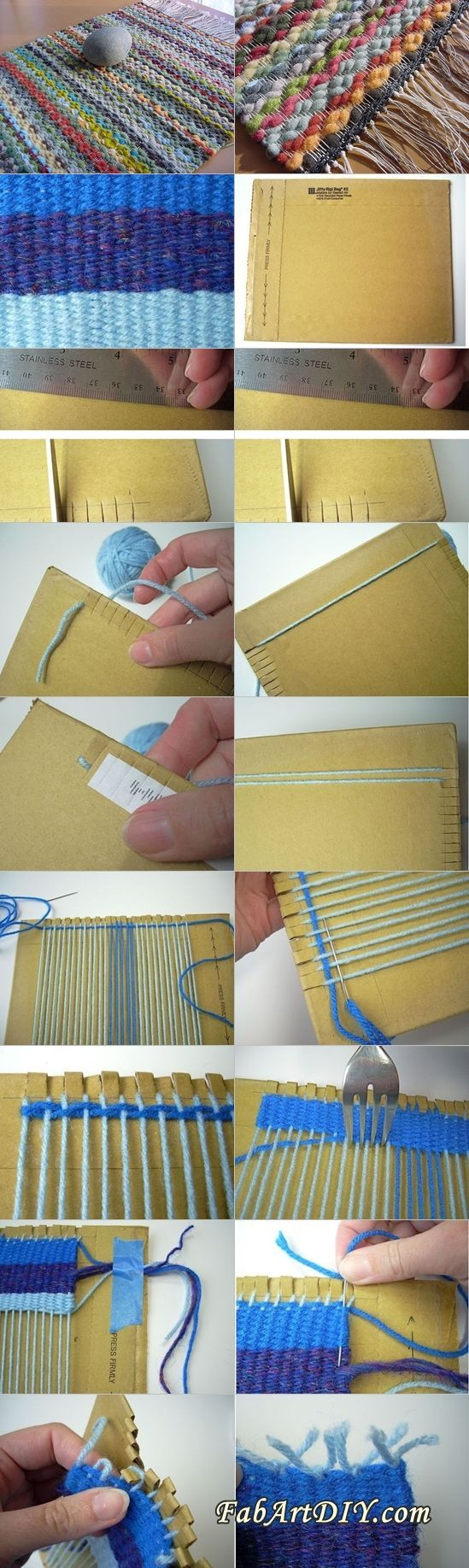 This is a very useful way to weave rugs at lowest cost, you can use yarn, cord, rope, or fabric scraps to make rug, but thin yarn or thread ...make a super large loom from cardboard:
