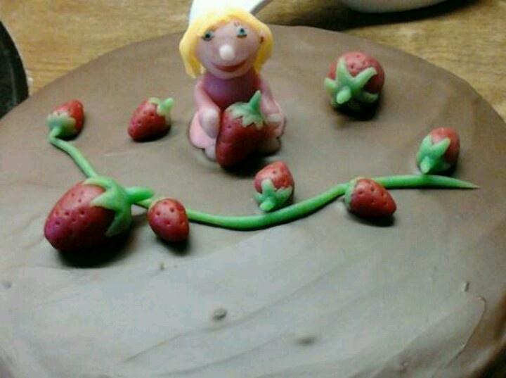 Aardbeien/chocolade taart