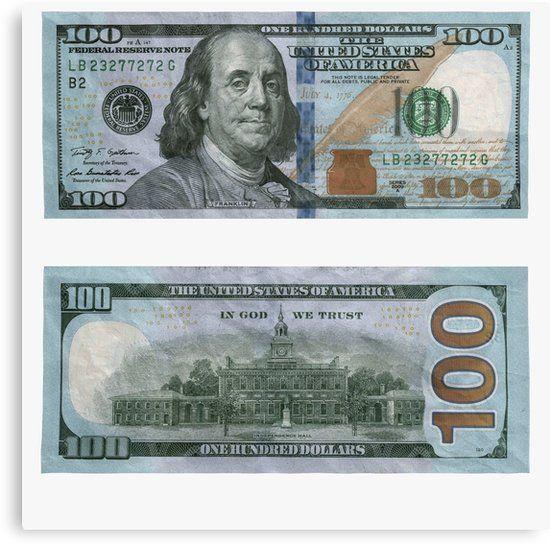 100 Dollar Bill – Money | Canvas Print