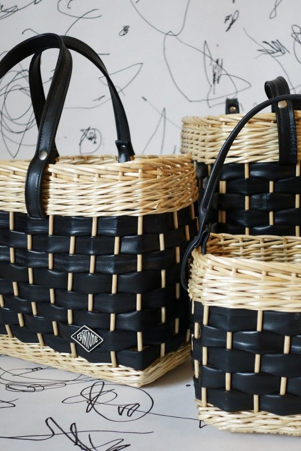 mix between wicker and recycled inner tubes for these baskets
