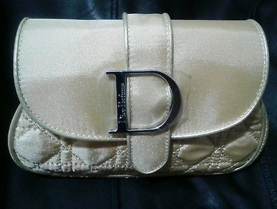 DIOR Parfums Gold Cosmetic Clutch Purse NEW