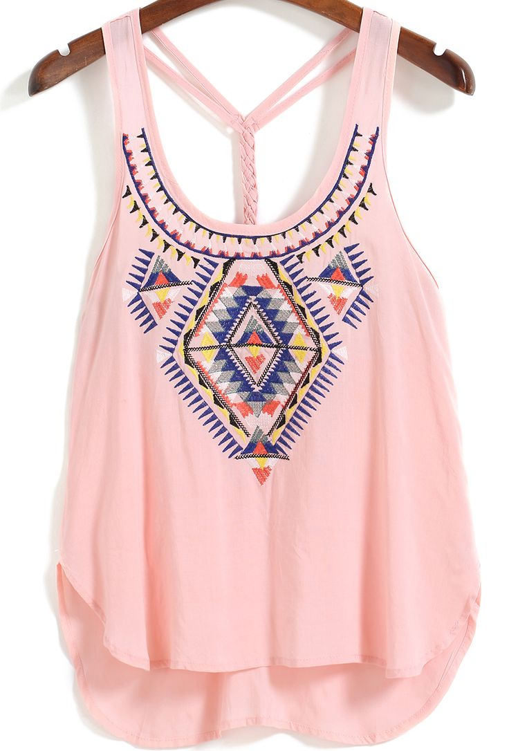 Straps Embroidered Pink Cami Top 12.50