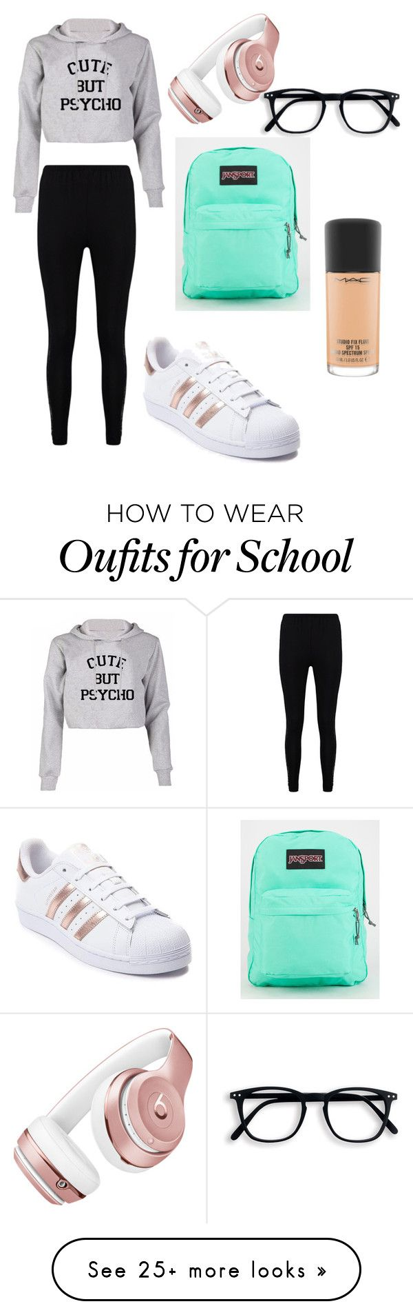 """When you're feeling lazy at school"" by coolytzel on Polyvore featuring Boohoo, adidas, JanSport, Beats by Dr. Dre and MAC Cosmetics"