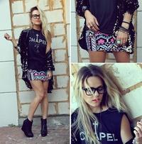 Falda estampada+ black