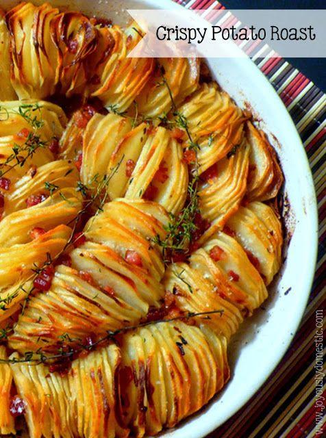 Crispy Potato Roast Try alternating slices of regular potatoes and sweet potatoes.  Hot bacon dressing on potatoes?