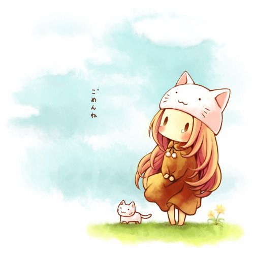 chibi cat & girl w/ cat hat | white kitties | anime style