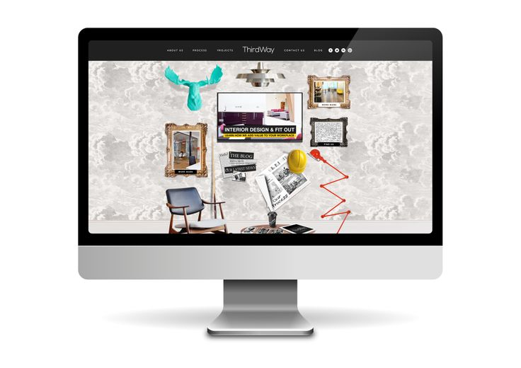 Website design and development for ThirdWay Interiors. The client was looking for an edgy and highly bespoke site design that got across the creative personality of the brand. Home page featuring interactive graphics.