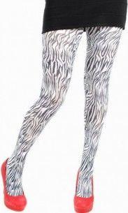 Collant grande taille mini zebre blanc