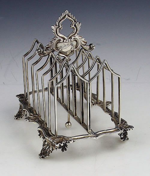 English Gothic style antique silver toast rack by Charles Fox London 1836