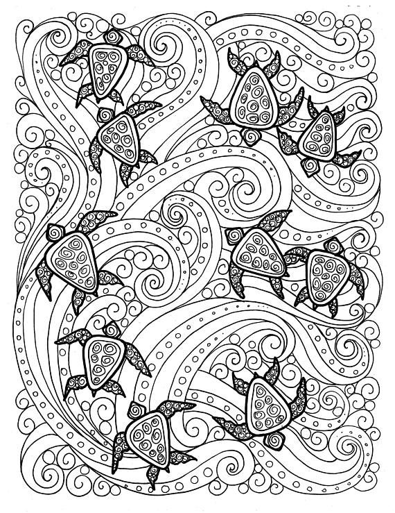 5 Pages Digital Coloring Sea Turtle Adult Coloring Sea Turtle