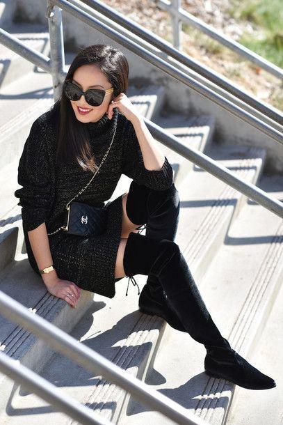 "nice Idée Tenue ""Day to night"" : Dress: tumblr black sweater mini winter bag black bag chanel chanel bag designer..."